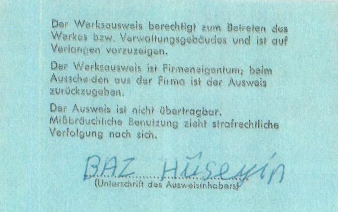 Werksausweis, Hasan Hüseyin Baz † (© privat)