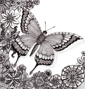 zentangle_butterfly_flowers