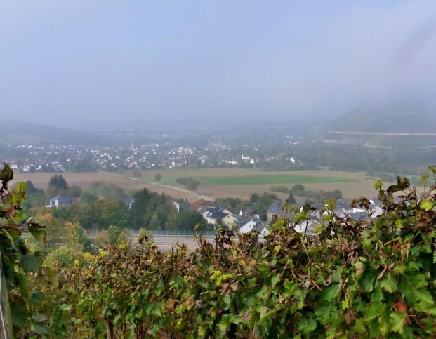 Blick ins Tal mit viel Nebel.