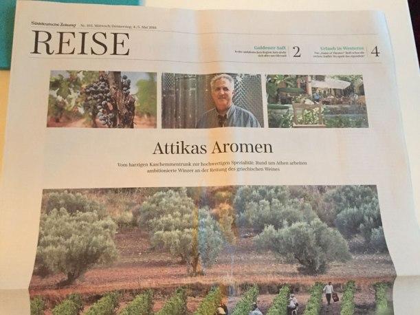 SZ-Artikel über griechischen Wein