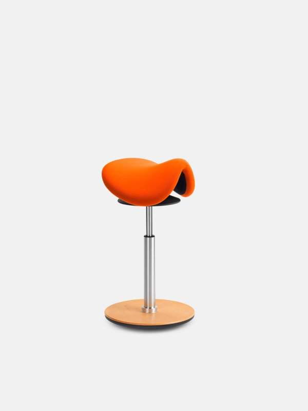 Sedlo Balanskruk met oranje zitting en beuken balans voet