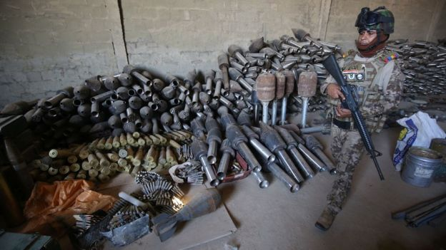 Iraqi forces have found huge arms caches in places retaken from IS