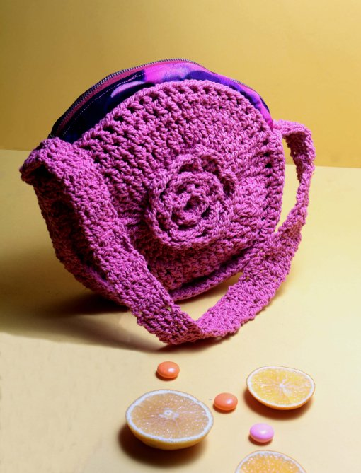 crocheted circle bag