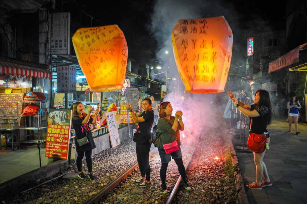 Lucerny štěstí v Pingxi