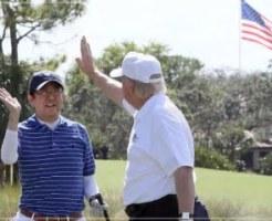 トランプ大統領,来日,ゴルフ,画像