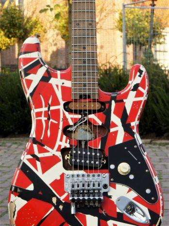 EVH Striped Series Frankie Red / White / Black Stripes Relic – Pre Order!