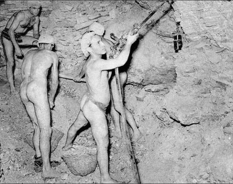 working naked in a mine