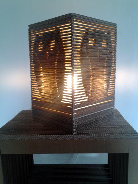 Tekturowa sowa 3d – lampa stojąca /  Cardboard owl  3d – table lamp
