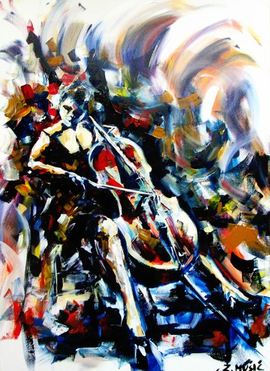 Cello, art painting by artist Zlatko Music