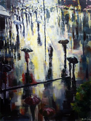 sunshine on a rainy day abstract expressionism, city landscape painting