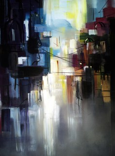 Marks of existence, abstract city scene contemporary fine art painting. Original artwork by artist Zlatko Music