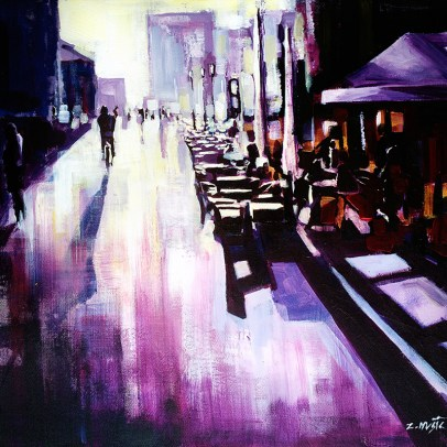After the Rain, street scene fine art painting by artist Zlatko Music.