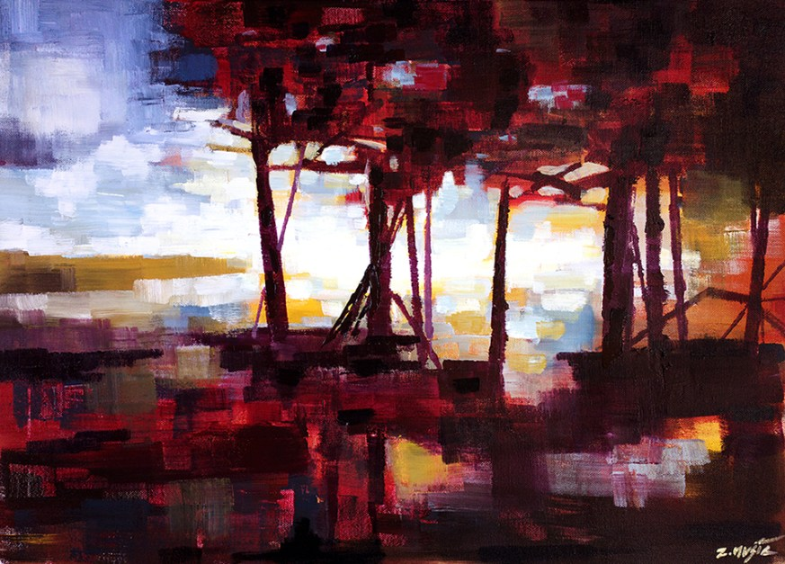 Red Forest Eve, contemporary modern abstract art painting, nature landscape. Original artwork by artist Zlatko Music.
