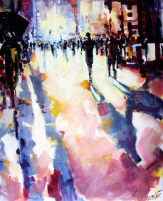 abstract modern art painting, urban landscape.