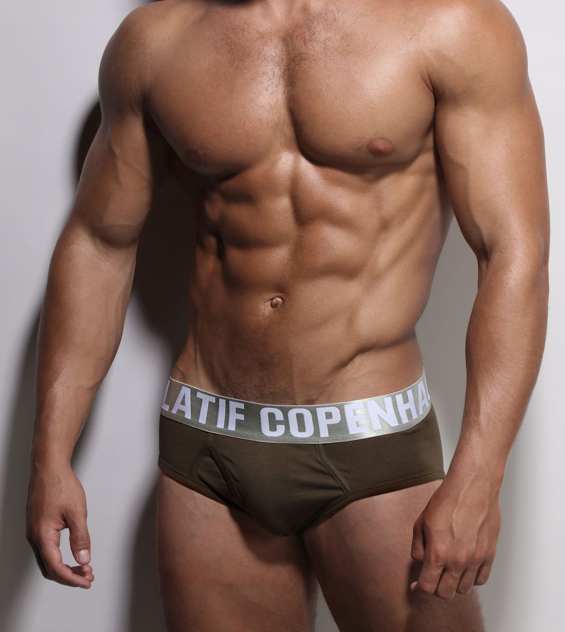 Army brief underwear recycled elastic front-close-up Danish Design by ZLCOPENHAGEN