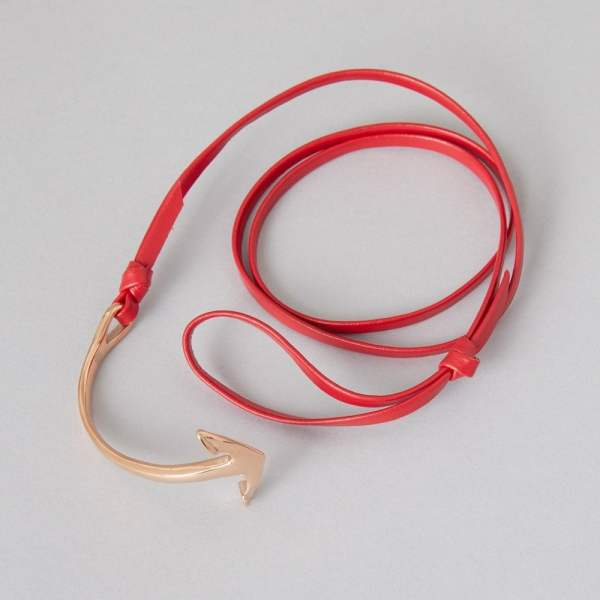 Anchor bracelet by ZLCOPENHAGEN. Red leather with rose gold plated anchor.