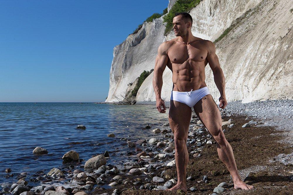 ZLC White Swimwear brief recycled fabrics Econyl