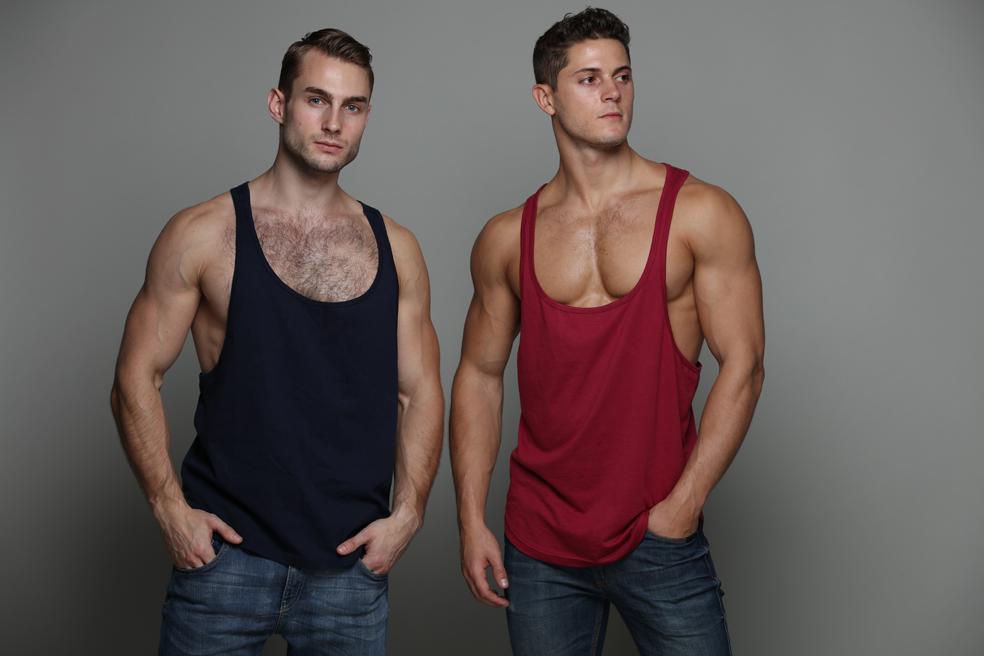 Navy & Bordeau, Plain Bodybuilding Fitness Workout Tank Top by ZLCOPENHAGEN