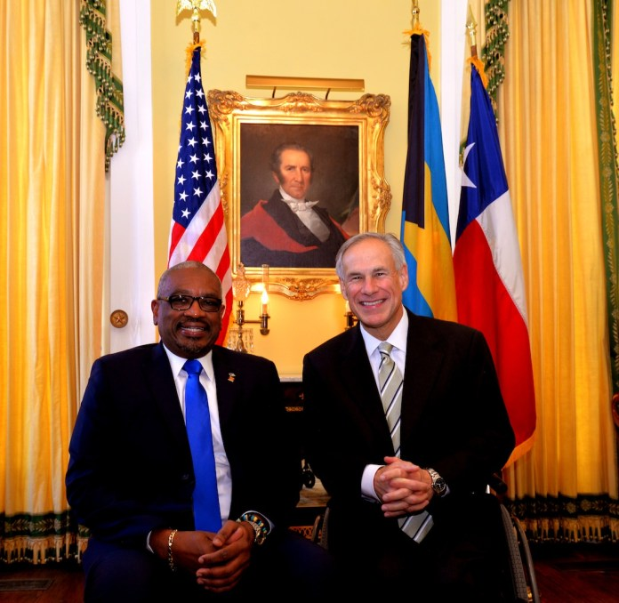 # 4 Official Photo of Prime Minister Hon Dr Hubert A Minnis and Texas Governor Greg Abbott