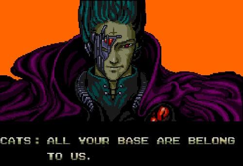 Screenshot aus dem Intro von Zero Wing: All your base are belong to us