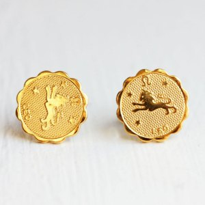 Leo Gold Stud Earrings