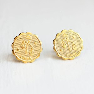 Libra Gold Stud Earrings