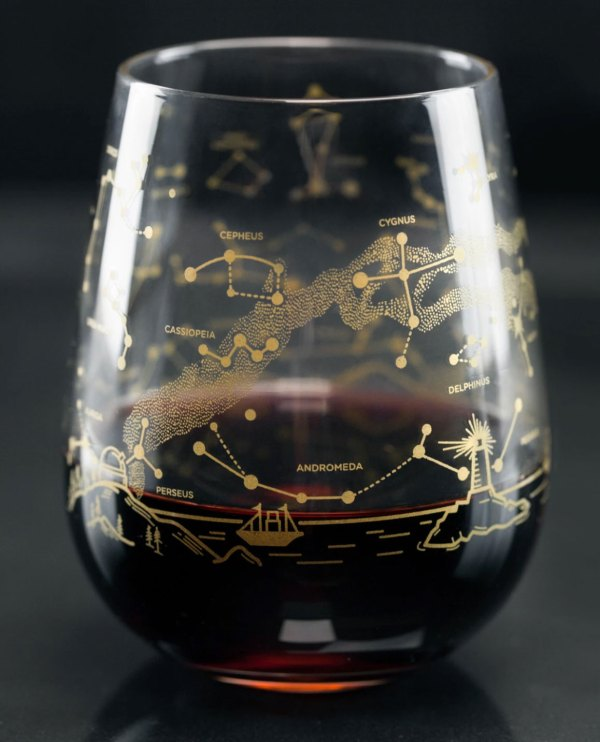Notherh Hemisphere Night Sky Stemless Wine Glass Close Up