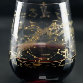Notherh Hemisphere Night Sky Stemless Wine Glass Close Up