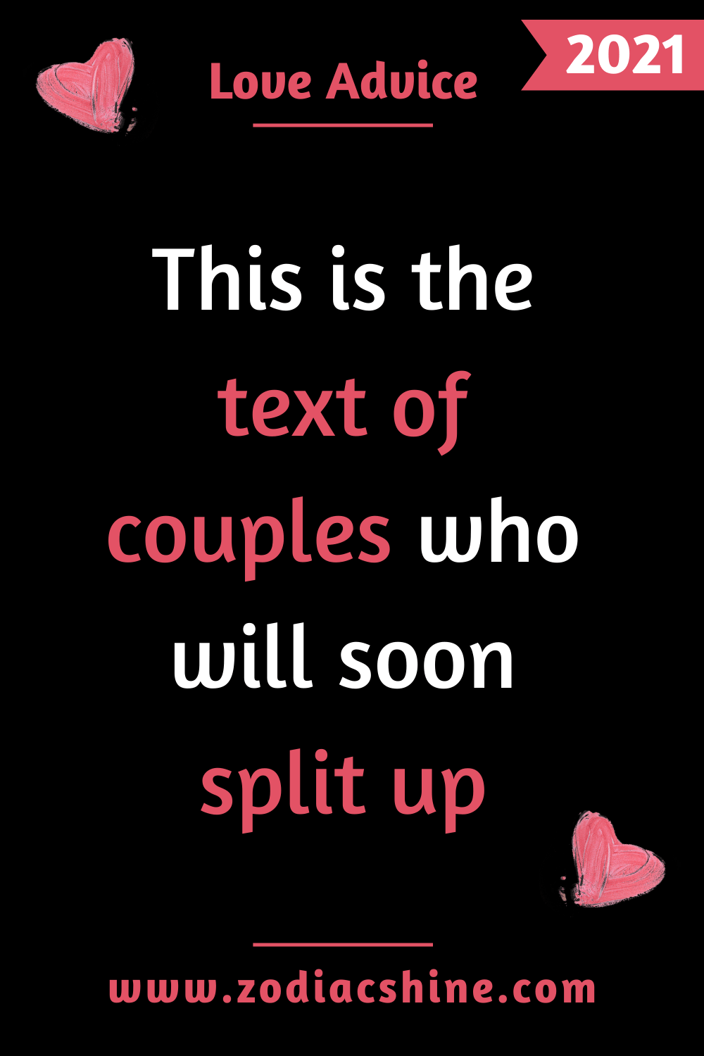 This is the text of couples who will soon split up