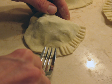 seal edge with a fork
