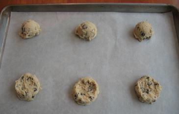 Chocolate Chip Cookie Dough on Baking Sheet | ZoëBakes | Photo by Zoë François