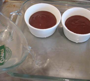 Chocolate in Ramekin Sitting in Warm Water Bath  | ZoëBakes | Photo by Zoë François