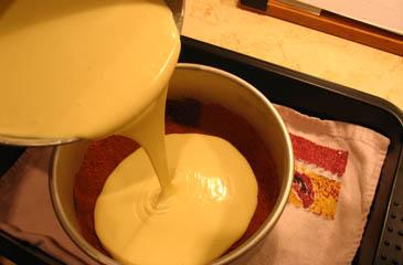 Pouring Cheesecake Batter Into Graham Cracker Crust | ZoëBakes | Photo by Zoë François