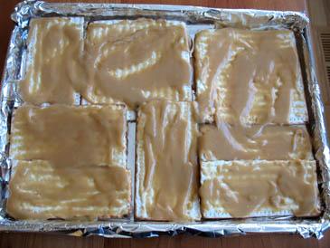 Caramel spread over matzohs | Chocolate Caramel Matzo | Photo by Zoë François