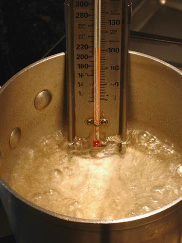 Boiling Sugar and Water with Candy Thermometer | ZoëBakes | Photo by Zoë François