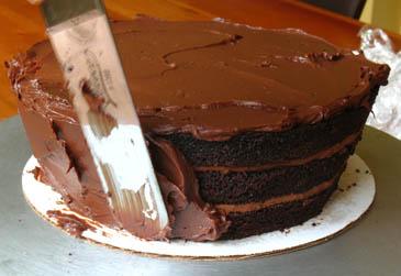 Spreading Ganache on Chocolate Cake | ZoëBakes | Photo by Zoë François
