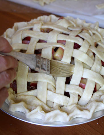 Brushing lattice pie crush | ZoëBakes | Photo by Zoë François