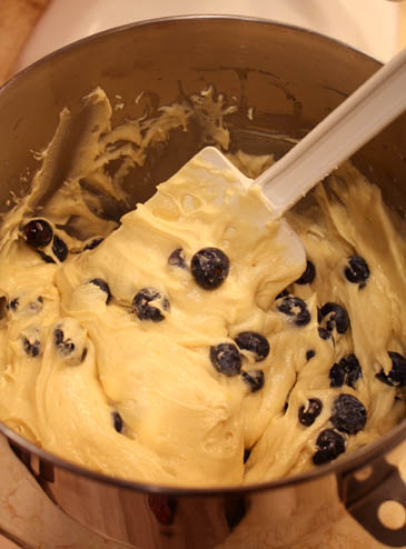 Adding Blueberries to Honey Cake Batter Honey Cake Batter | ZoëBakes | Photo by Zoë François