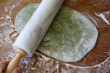 Rolling out spinach pasta | ZoëBakes | Photo by Zoë François
