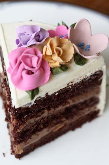 A slice of chocolate springtime flower cake   Photo by Zoë François