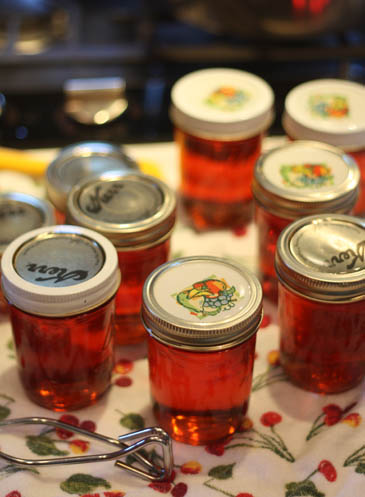 Jars of Barb Schaller's peach-raspberry jam