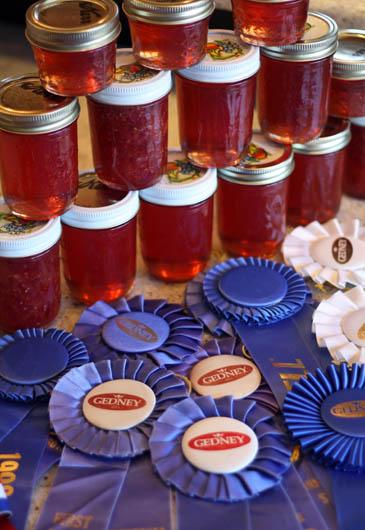 Jars of Plum jelly and Peach-Raspberry jam