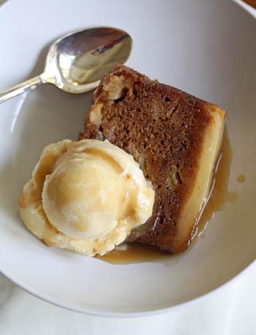 Caramel apple and pear cake slice with ice cream | ZoëBakes | Photo by Zoë François