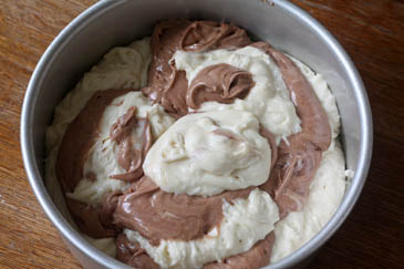 Chocolate and white cake batter mixed for marble cake | ZoëBakes | Photo by Zoë François