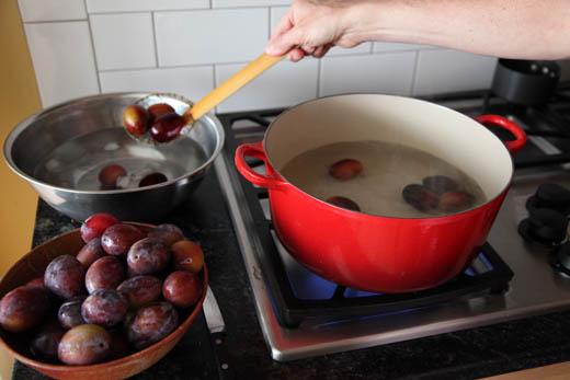 Blanching plums for peeling | ZoëBakes | Photo by Zoë François