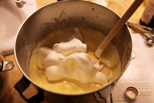 Folding egg white mixture into batter | ZoëBakes | Photo by Zoë François