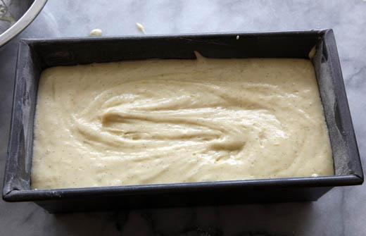 Pound cake batter in loaf pan | ZoëBakes | Photo by Zoë François