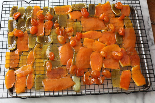 Candied fruit on cooling rack | ZoëBakes | Photo by Zoë François