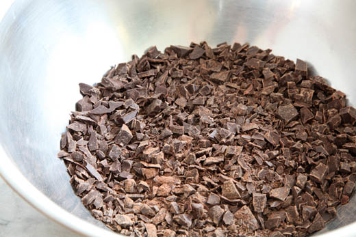 Chopped chocolate   Flourless Chocolate Lava Cake for Passover (gluten free)   Photo by Zoë François