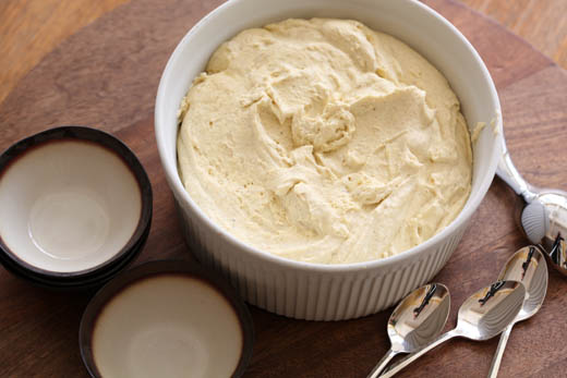 Roasted banana ice cream custard